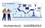 conveyor inspection flat vector ... | Shutterstock .eps vector #1660886563