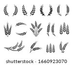 wheat wreaths and grain spikes... | Shutterstock .eps vector #1660923070