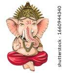 hand drawn ganesha indian god....   Shutterstock .eps vector #1660944340