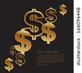 gold dollars sign background | Shutterstock .eps vector #166096448