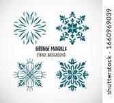 Set Of Hand Draw Blue Mandala...