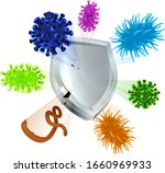 a shield deflecting virus or... | Shutterstock .eps vector #1660969933