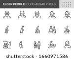 elder people vector line icons. ... | Shutterstock .eps vector #1660971586