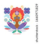 face of woman and decoration... | Shutterstock .eps vector #1660971829