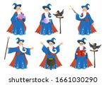 Wizard In Robe Spelling Vector...