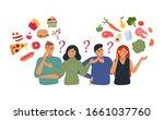 people chooses between fast... | Shutterstock .eps vector #1661037760