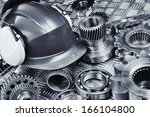 industrial hardhat set against... | Shutterstock . vector #166104800