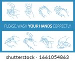 please  wash your hands... | Shutterstock .eps vector #1661054863