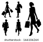 woman with shopping bags... | Shutterstock .eps vector #166106264