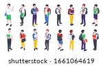 group of college and university ... | Shutterstock .eps vector #1661064619