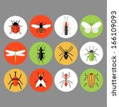 bug and insect icons | Shutterstock .eps vector #166109093