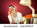 vintage housewife chats on the... | Shutterstock . vector #166109819