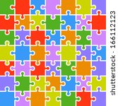 jigsaw puzzle color parts... | Shutterstock .eps vector #166112123