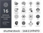 artificial intelligence icons.... | Shutterstock .eps vector #1661149693