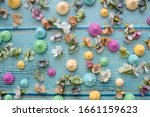 meringues and flowers on a blue ... | Shutterstock . vector #1661159623