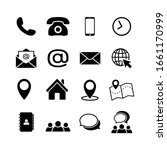 Contact Us Icon Set In Flat...