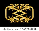 hand drawn gold orchid branch... | Shutterstock .eps vector #1661237050