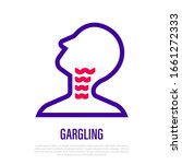 gargling throat thin line icon. ... | Shutterstock .eps vector #1661272333