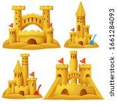 sand castle cartoon set. beach... | Shutterstock .eps vector #1661284093