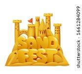 sand castle festival cartoon... | Shutterstock .eps vector #1661284099