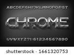 chrome alphabet font. 3d thin... | Shutterstock .eps vector #1661320753