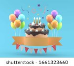 birthday cake with candles .... | Shutterstock . vector #1661323660
