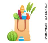 fresh food in a paper bag  ... | Shutterstock .eps vector #1661324560