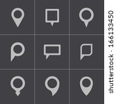 vector black map pointer icons... | Shutterstock .eps vector #166133450