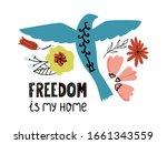 hand drawn blue bird with... | Shutterstock .eps vector #1661343559