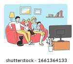happy young family watching tv... | Shutterstock .eps vector #1661364133
