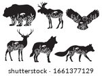 set of stylized nature animals. ... | Shutterstock .eps vector #1661377129