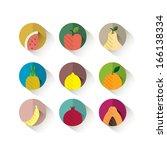 fruit icons  flat