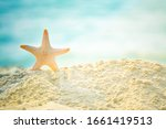 Summer Beach With Starfish On...