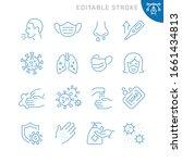 virus related icons. editable... | Shutterstock .eps vector #1661434813