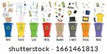 set of garbage cans with sorted ... | Shutterstock .eps vector #1661461813