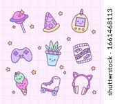 vector set cute kawaii...   Shutterstock .eps vector #1661468113