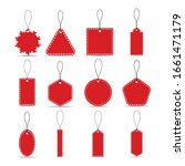Set Of Red Paper Sale Tags And...