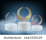 realistic award podium. 3d... | Shutterstock .eps vector #1661524129