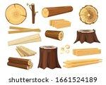 wooden industry. lumber trunks... | Shutterstock .eps vector #1661524189