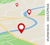 flat street map with direction. ...   Shutterstock .eps vector #1661529616