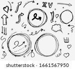 doodle vector arrows  heart ... | Shutterstock .eps vector #1661567950