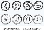 doodle vector arrows in circles.... | Shutterstock .eps vector #1661568340