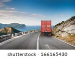 cargo truck on the mountain... | Shutterstock . vector #166165430
