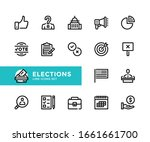 elections vector line icons....   Shutterstock .eps vector #1661661700