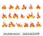 Fire Flame Cartoon Set. Vector...