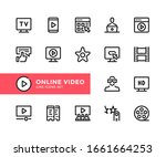 online video vector line icons. ... | Shutterstock .eps vector #1661664253