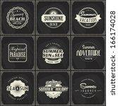 set of retro summer vacation... | Shutterstock .eps vector #166174028