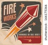 vintage fireworks poster design.... | Shutterstock .eps vector #166175366