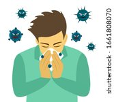 a man cover his sneeze with...   Shutterstock .eps vector #1661808070