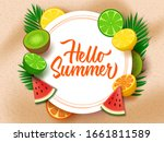 hello summer with fruits...   Shutterstock .eps vector #1661811589